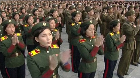 N Korea-recruits applauding